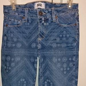 Paige Verdugo Ankle Skinny Tribal Print 26 Jeans